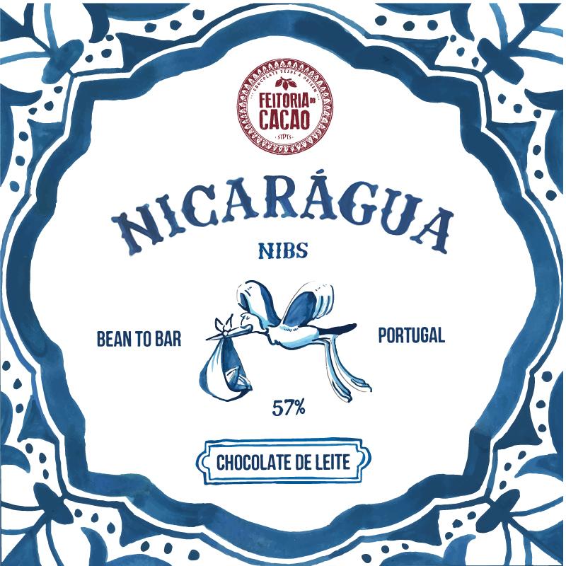 Chocolate de Leite Nicarágua 57% + NIBS - Feitoria do Cacao