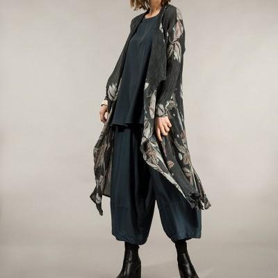 Jaqueta de Seda Viscose com Estampa Folhas