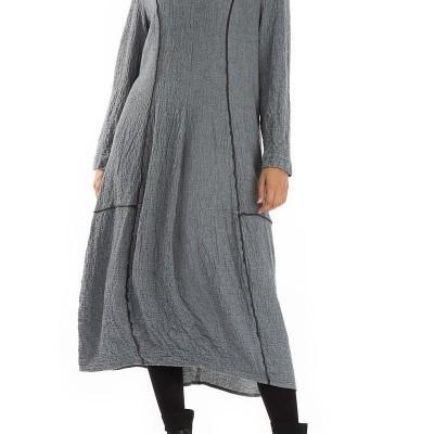 Vestido de Lã Cinza Balão
