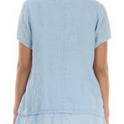 Blusa de Linho Azul Celeste