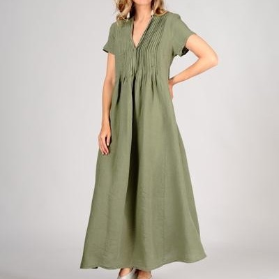 Vestido de Linho Cáqui Romântico