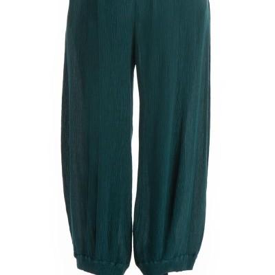 Calça Larga de Viscose de Seda Esmeralda