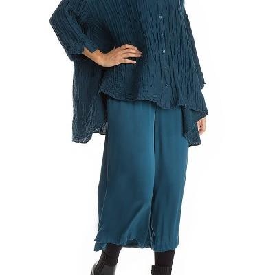 Camisa Solta de Linho de Seda Azul Pavão