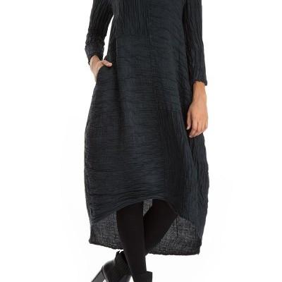 Vestido de Linho de Seda Azul Enrugado