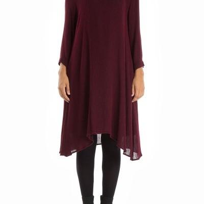 Vestido Vinho Fluido com Decote em V