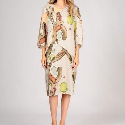 Vestido de Linho Natural com Estampa Abstrata