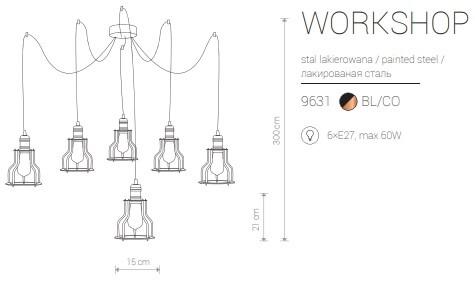 Candeeiro Suspenso Nowodvorski Workshop VI | Preto & Latão