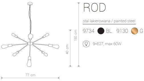 Candeeiro Suspenso Nowodvorski Rod IX | Dourado | Preto
