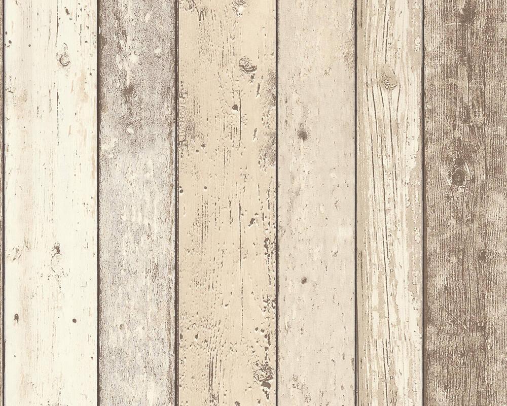 Papel de Parede Estilo Madeira, Casa de Campo, Bege, Castanho, Branco