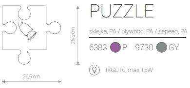 Candeeiro de Parede para Criança Formato Peça de Puzzle Rosa Preto Branco Cinzento Castanho medidas