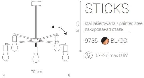 Candeeiro Suspenso Nowodvorski Sticks V B  | Preto