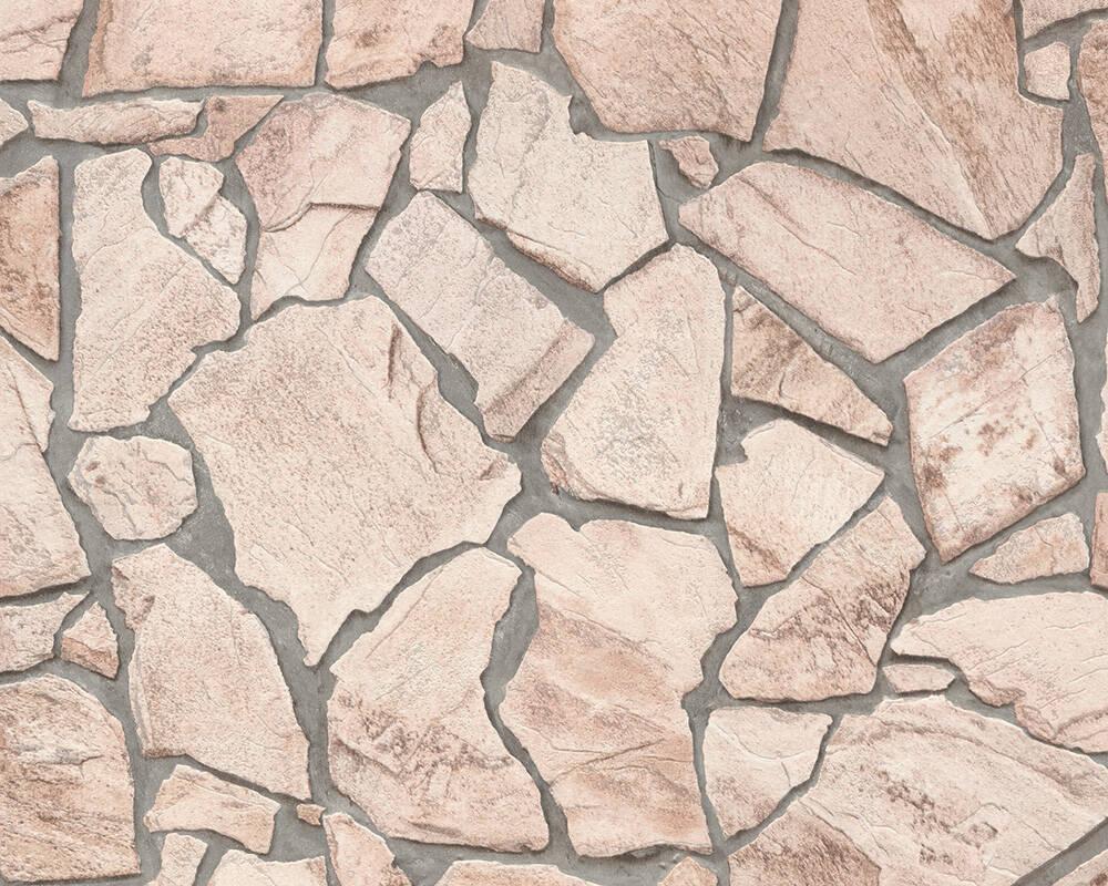 Papel de Parede Estilo Pedra, Casa de Campo, Bege, Marrom, Cinza