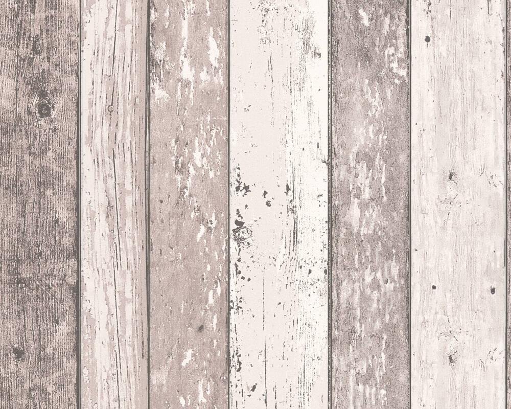 Papel de Parede Estilo Madeira, Casa de Campo, Castanho, Creme