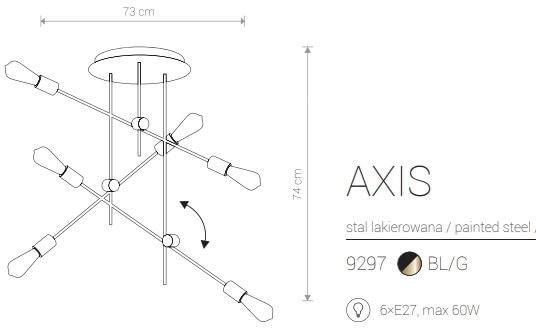 Candeeiro Suspenso Nowodvorski Axis VI Plafon | Preto & Dourado