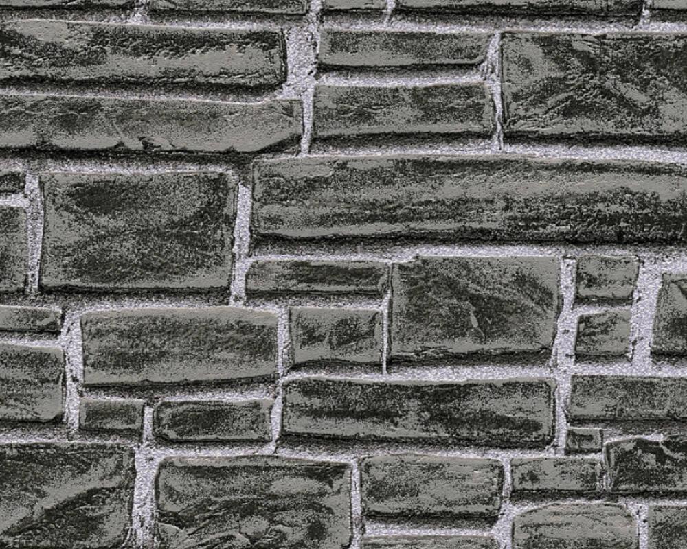 Papel de Parede Estilo Pedra, Vulcanica, Preto, Cinzento