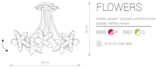 Candeeiro de Teto Suspenso para Criança com Cinco Flores Cor de Rosa