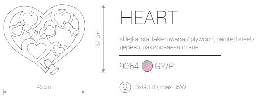 Candeeiro de Parede para Criança Formato Coração em Cor de Rosa e Cinzento
