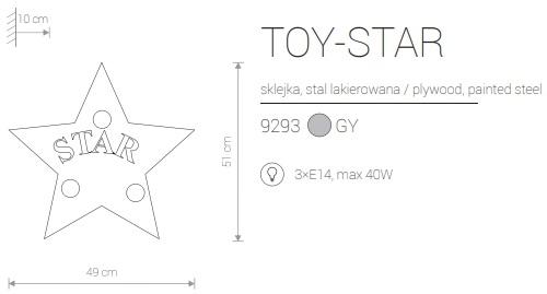 Candeeiro de Parede para Criança Formato Estrela Star Cinzenta com Riscas