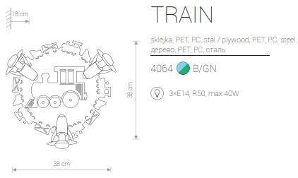 Candeeiro de Parede para Criança com Comboio Azul e Verde