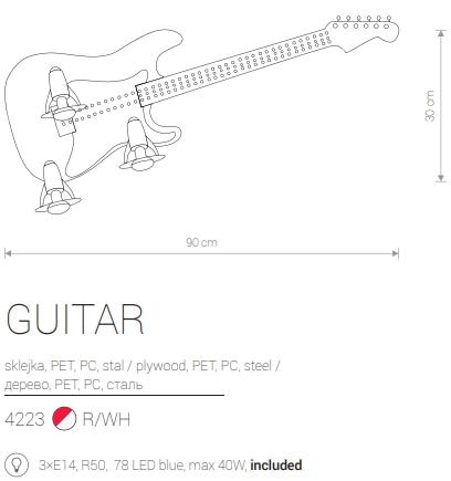 Candeeiro Infantil em Forma de Guitarra eletrica Vermelha medidas