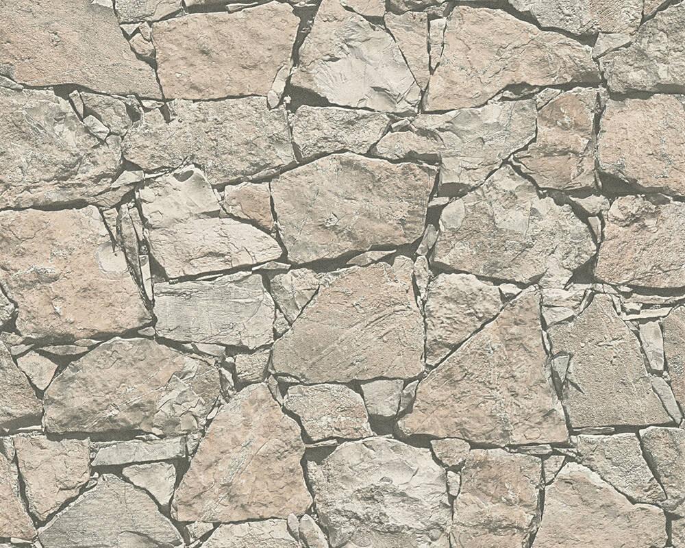 Papel de Parede Estilo Pedra, Casa de Campo, Bege, Preto, Cinza