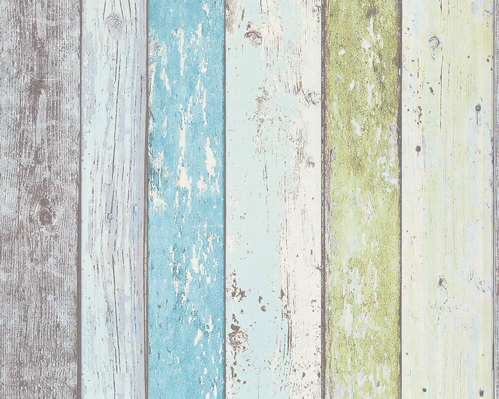 Papel de Parede Estilo Madeira, Casa de Campo, Azul, Verde, Branco
