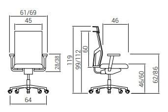 Cadeira Atika PRO Laranja medidas