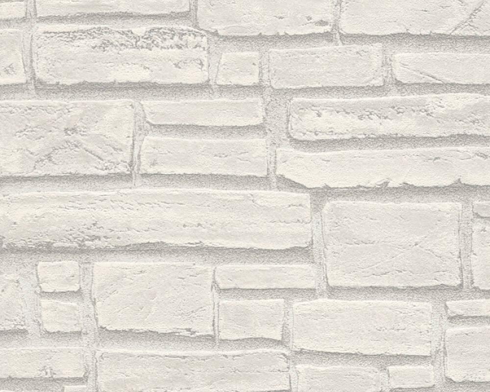 Papel de Parede Estilo Pedra, Casa de Campo, Cinzento, Branco