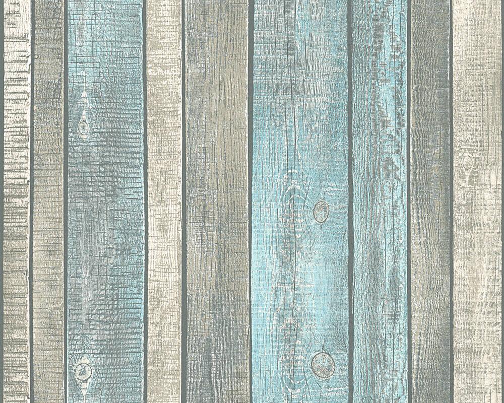 Papel de Parede Estilo Madeira, Casa de Campo, Azul, Creme, Cinzento