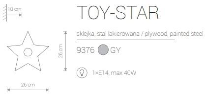 Candeeiro de Parede para Criança Formato Estrela Cinzenta com Riscas