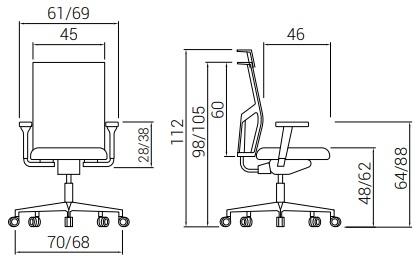 Cadeira Atika PURE medidas
