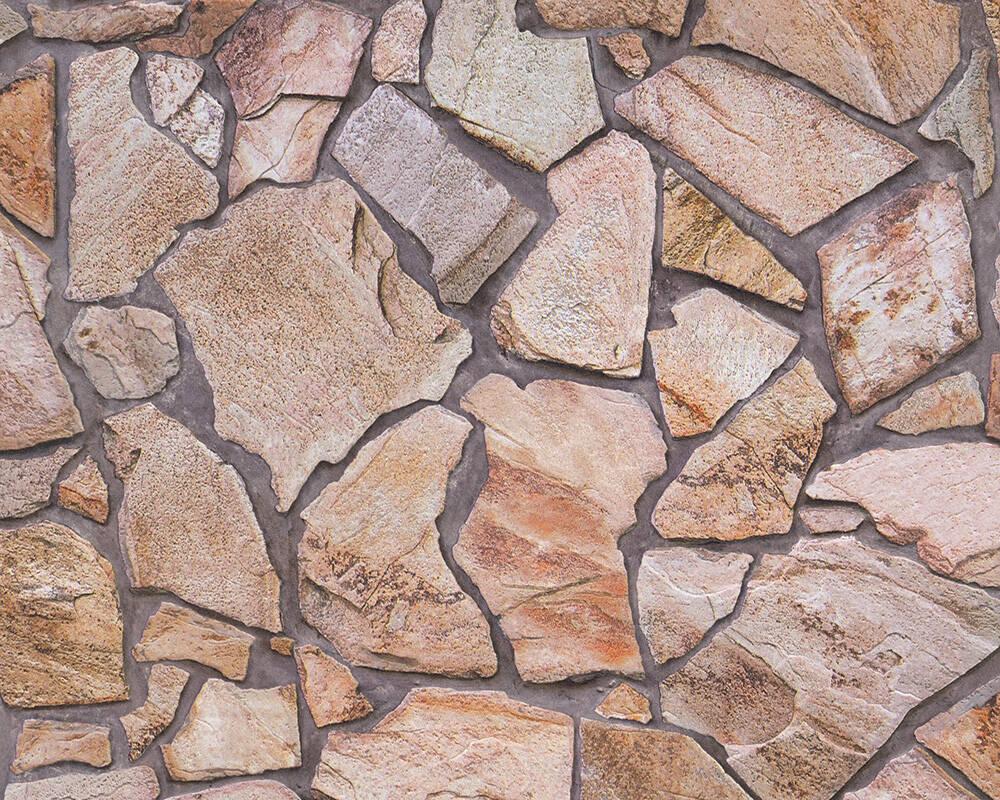 Papel de Parede Estilo Pedra, Casa de Campo, Bege, Castanho, Cinzento