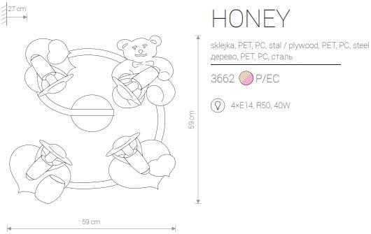 Candeeiro de Parede para Criança com Urso e Tres Corações Rosa Honey medidas