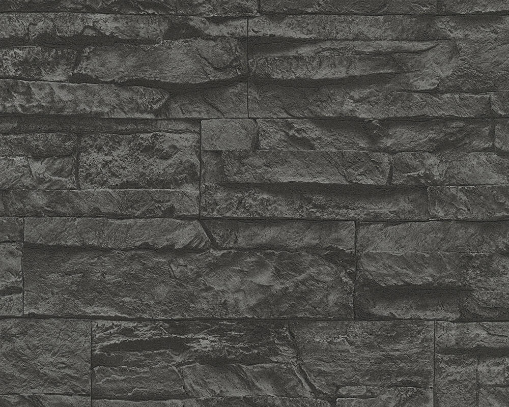 Papel de Parede Estilo Pedra, 3D, Preto, Cinzento