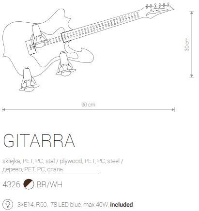Candeeiro de Parede Infantil em Forma de Guitarra Elétrica Preta