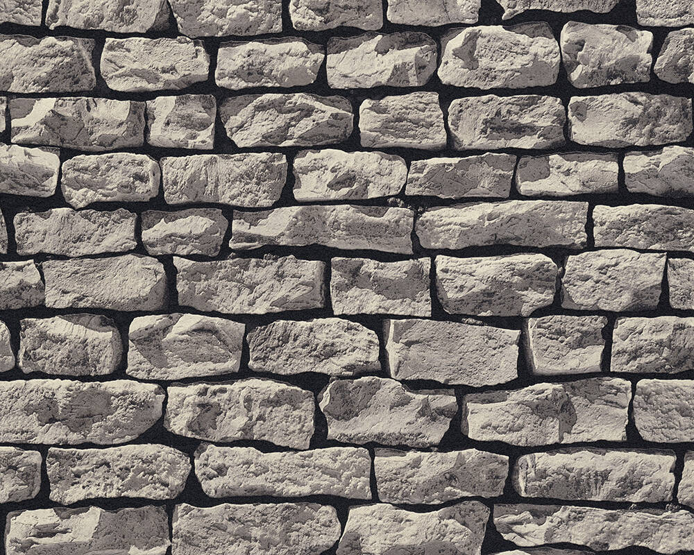 Papel de Parede Estilo Pedra, Casa de Campo, 3D, Preto, Castanho, Cinzento