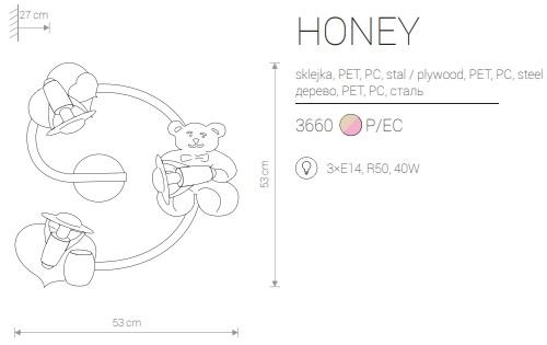 Candeeiro de Parede para Criança com Urso e Dois Corações Rosa Honey medidas