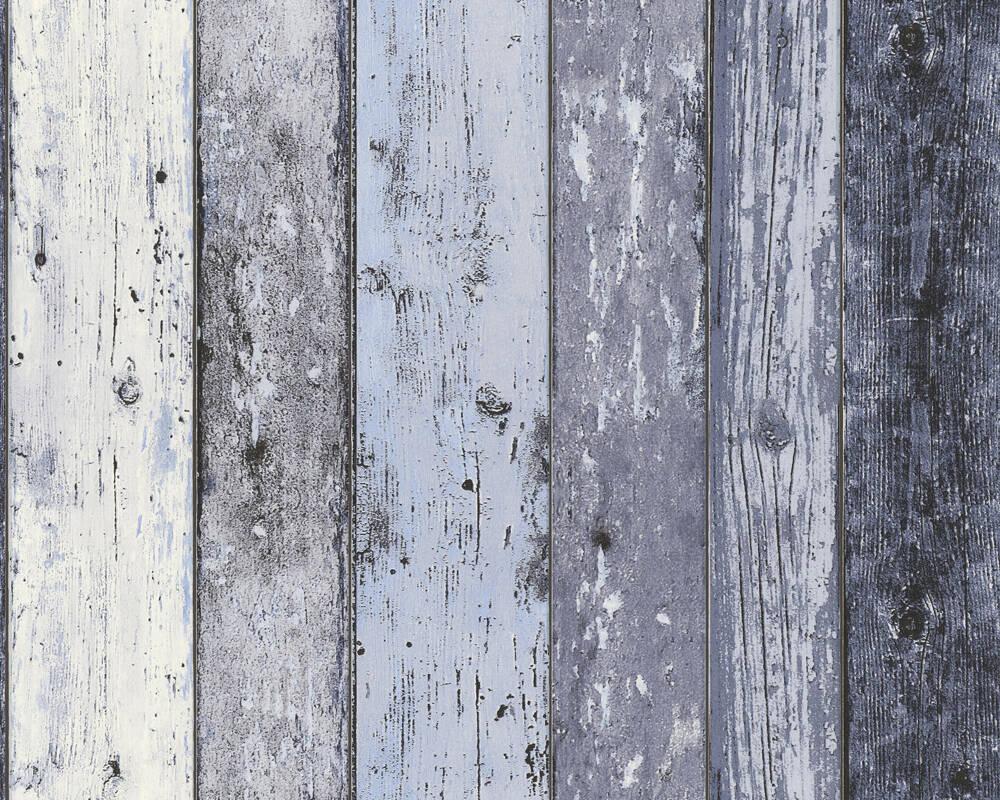 Papel de Parede Estilo Madeira, Casa de Campo, Azul
