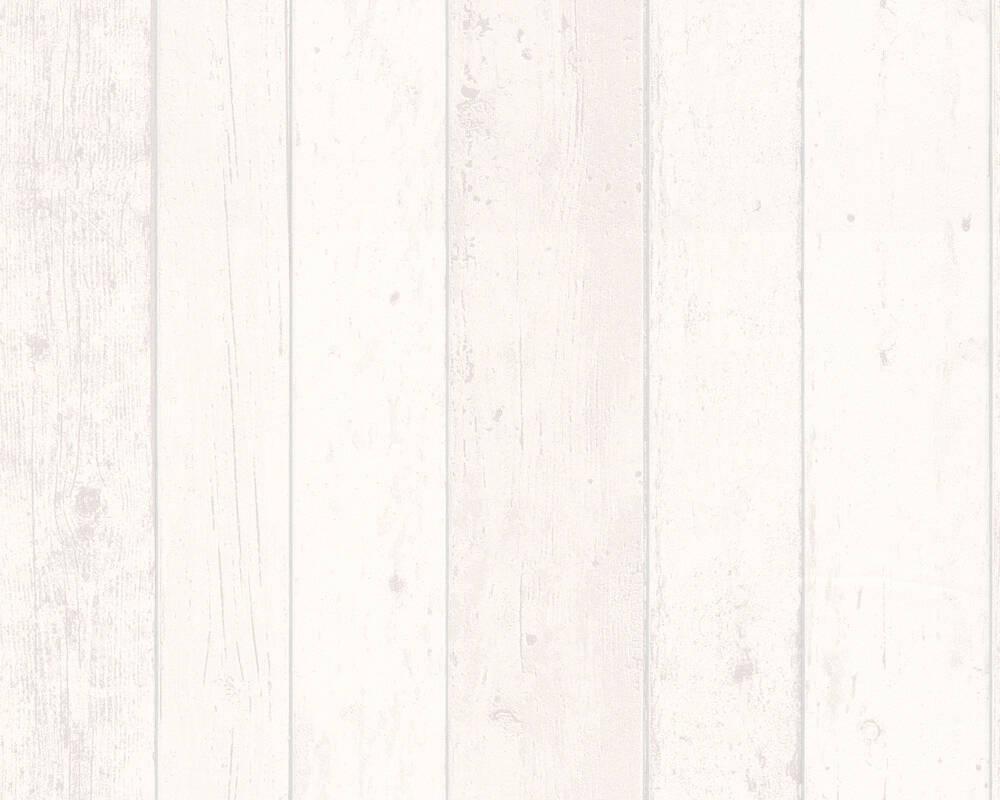 Papel de Parede Estilo Madeira, Casa de Campo, Cinzento, Branco