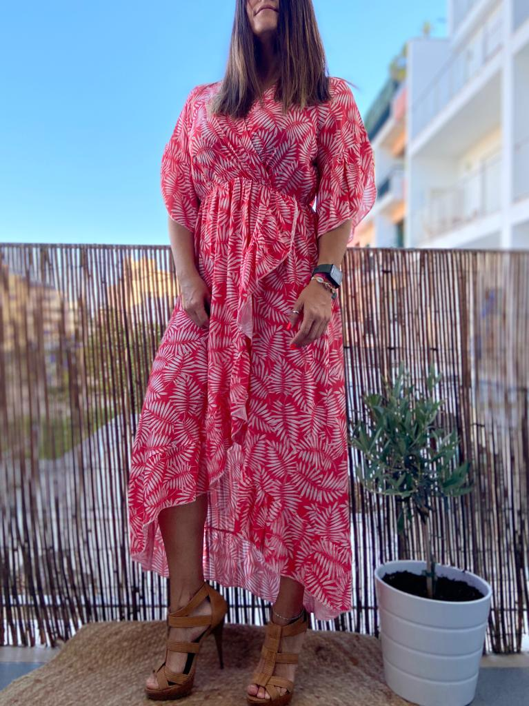 Vestido Folhagens Summer   Morango