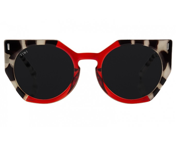 VENUS   SHINY BICOLOR WHITE TORTOISE/RED WITH BLACK LENSES