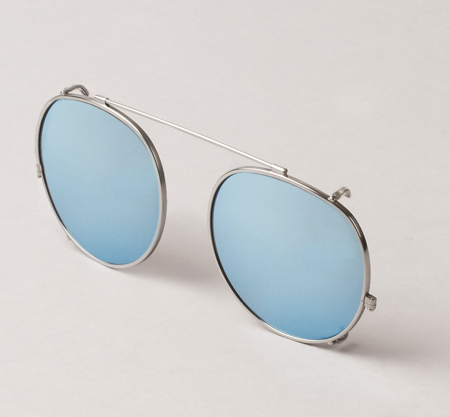 Silver Clip with sky blue lenses