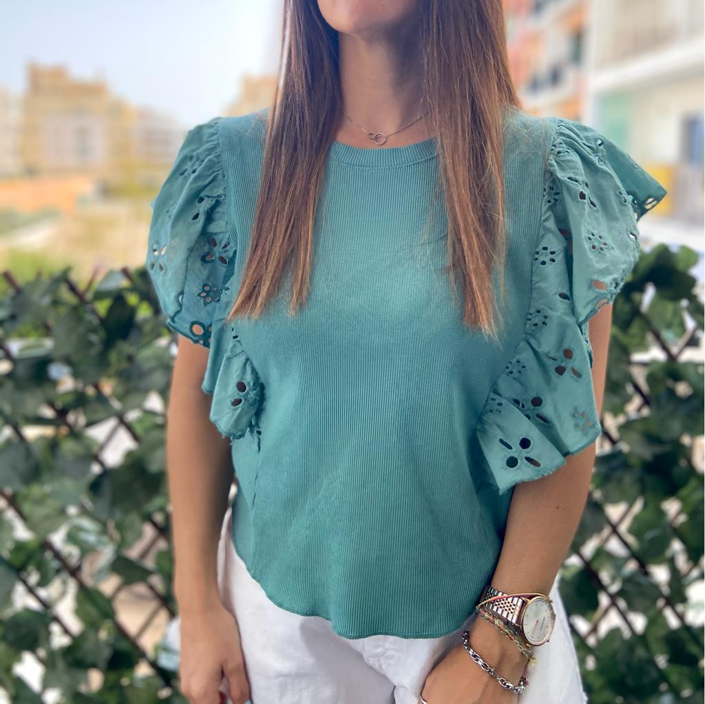 Top Canelado Folho | Verde