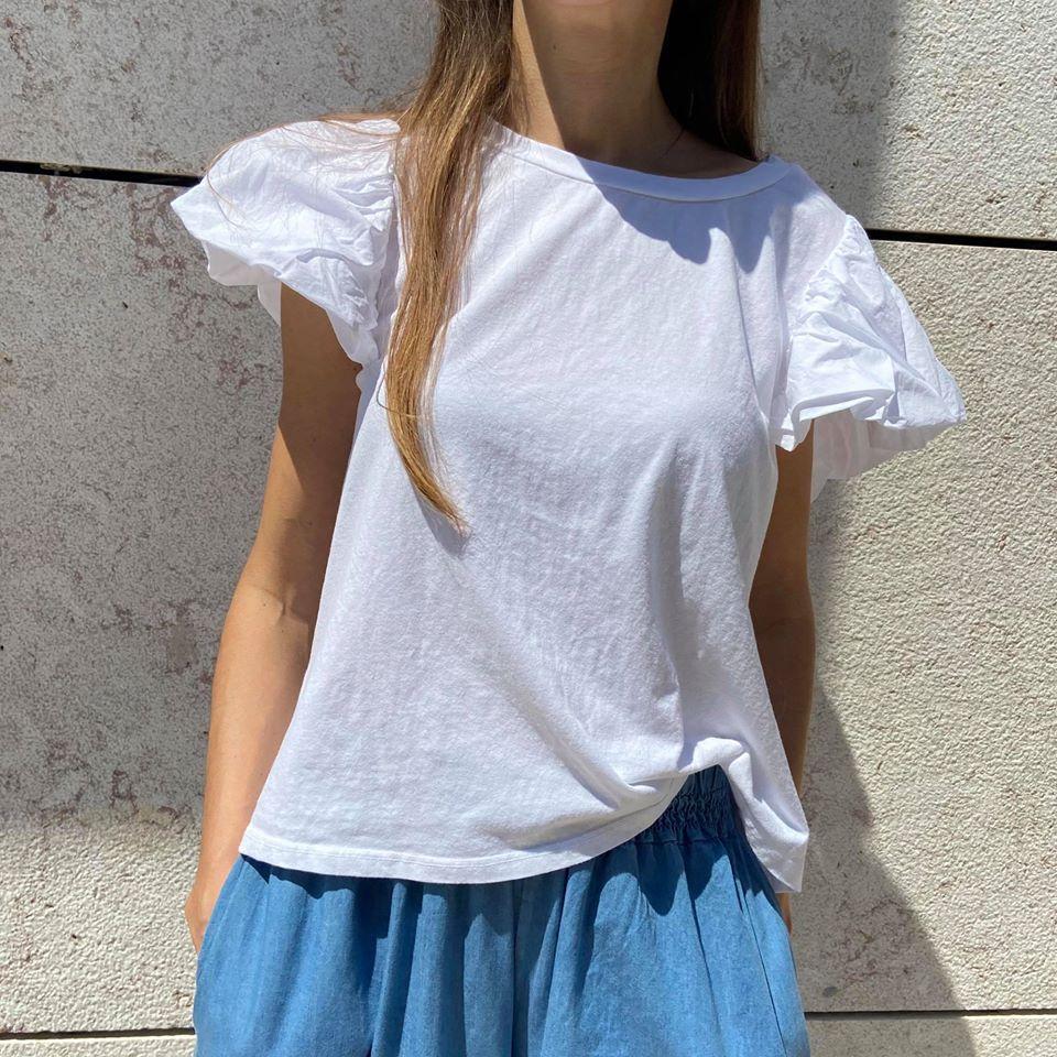 T-Shirt Manga Balão (Novo Modelo)   Branco