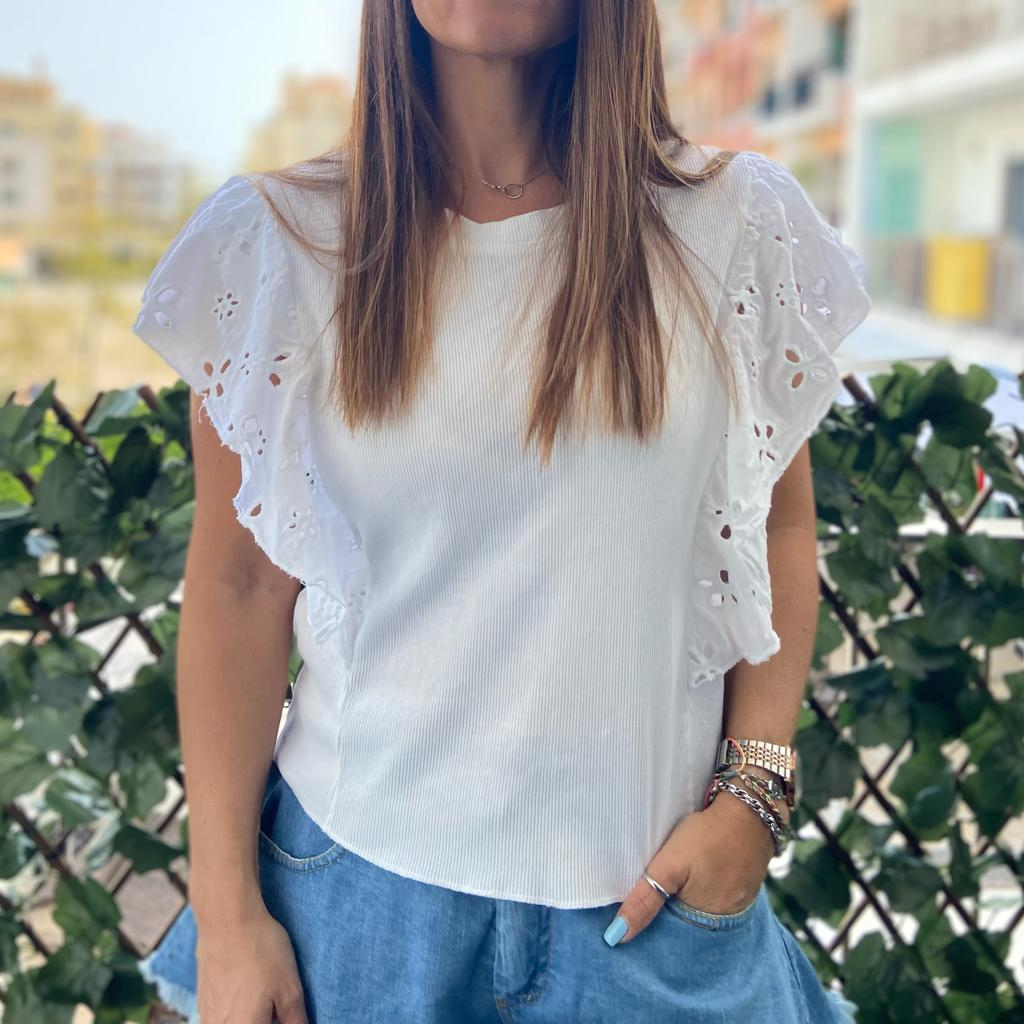 Top Canelado Folho | Branco