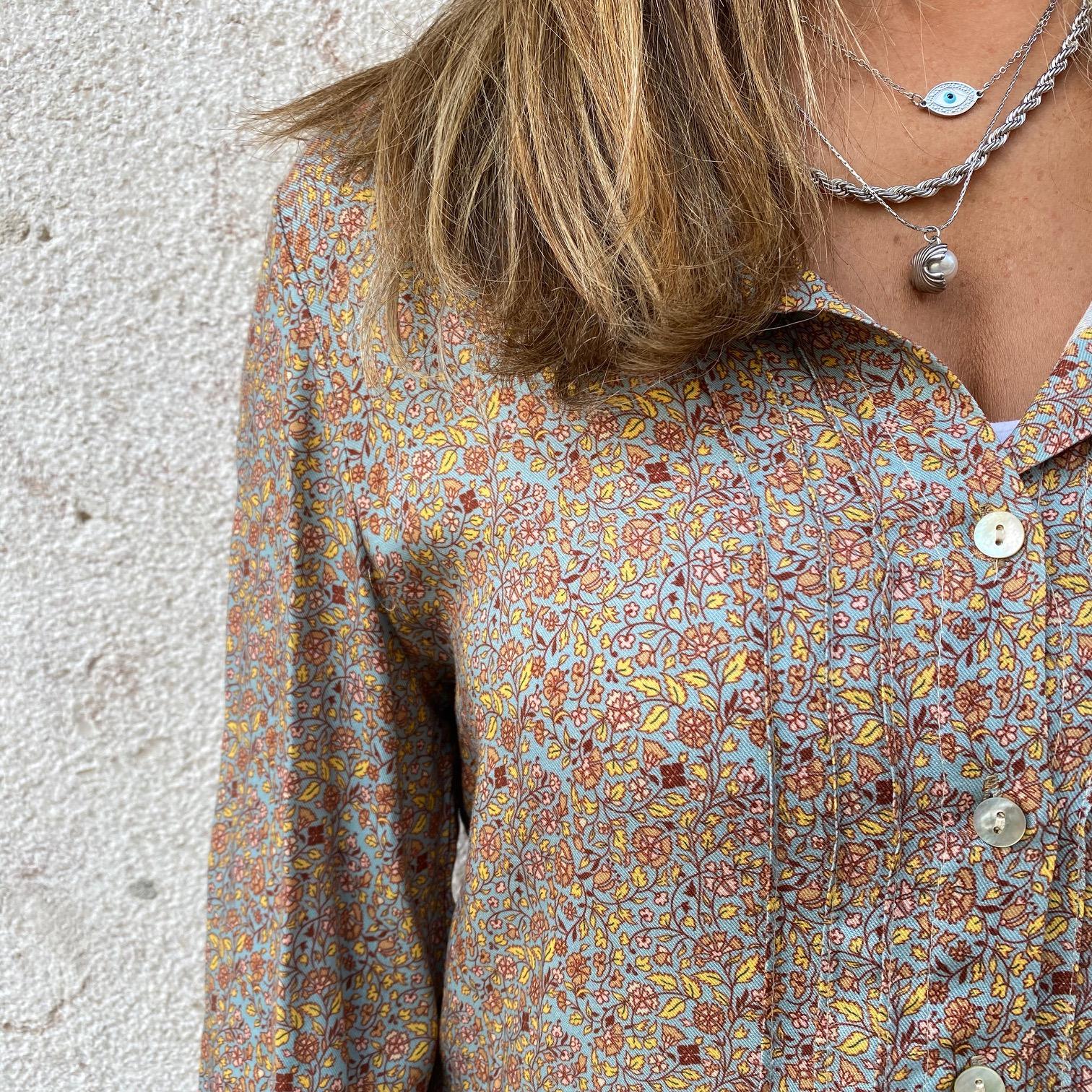 Vestido Floral Outono | Fundo Azul