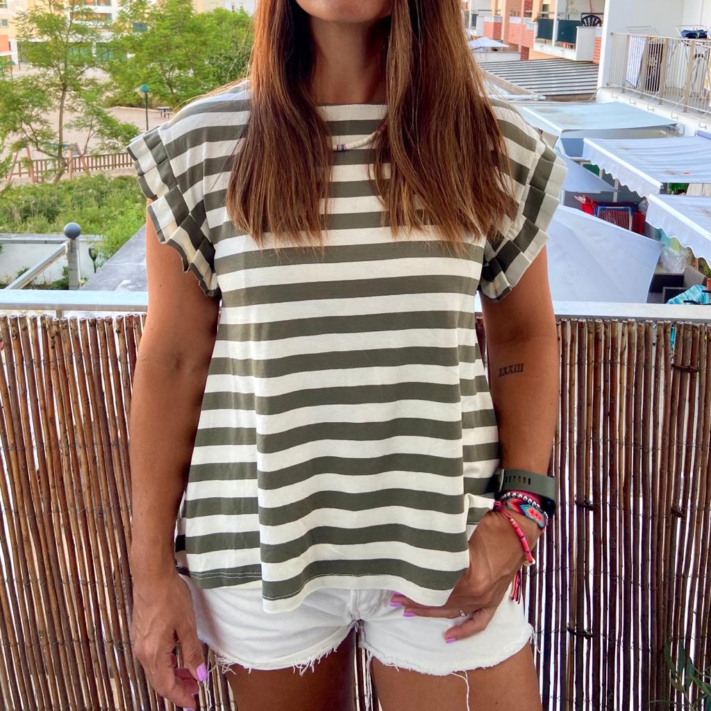 T-Shirt Riscas | Kaki