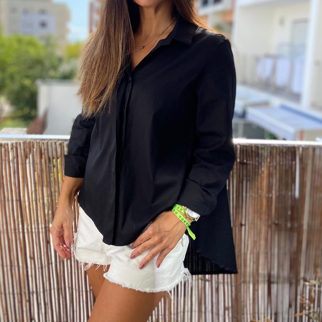 Camisa Comprida Atrás | Preto