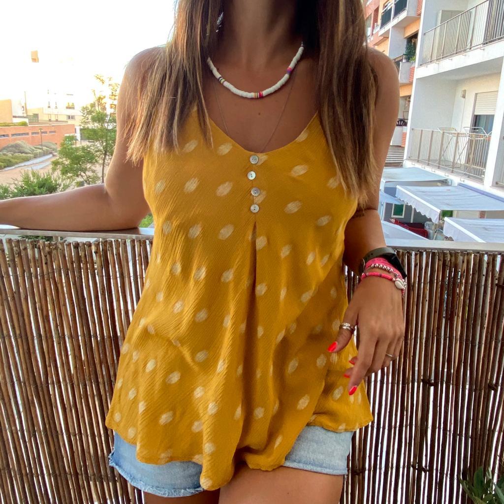 Top Padrão Dourado | Mostarda