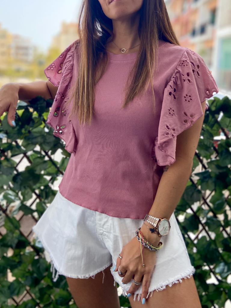 Top Canelado Folho | Rosa
